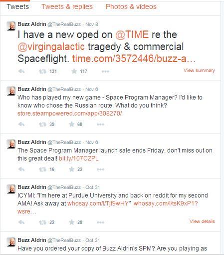 Buzz Aldrin Twitter feed
